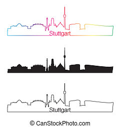 Stuttgart skyline linear style with rainbow in editable...