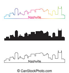Nashville skyline linear style with rainbow in editable...