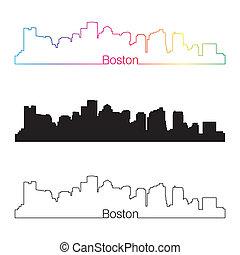 Boston skyline linear style with rainbow in editable vector...