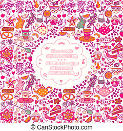 Tea time template design, vector set.Vector illustration made of sweets. Retro card made of candy, sweets, tea lettering and tea things. Bright summer outlines made from tea things. Let's tea!