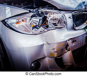 Smashed Luxury Car - Detail Of The Front Of A Luxury Car...