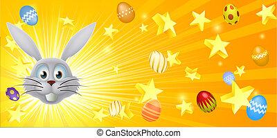 White Easter bunny banner