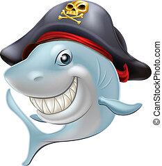 Pirate shark cartoon - An illustration of a cute cartoon...