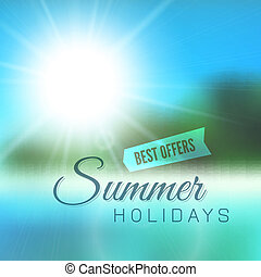 Blurry beach and blue sky with summer sun burst, vector...