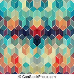 Hipster geometric background made of cubes.Retro hipster...