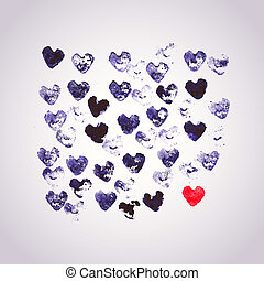 Watercolors vector background with heart stamp, many heart shapes. Be unique, One love concept