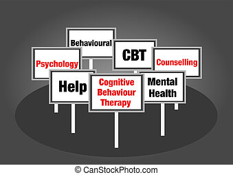 Cognitive behaviour therapy signs with text
