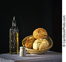 Brad with olive oil - Mediterranean diet the healthiest food...