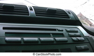 Car Radio with blinking Security Light - Interior of an...
