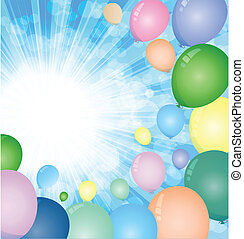 Sky balloons - Colorful balloons on a sunny day with the sky...