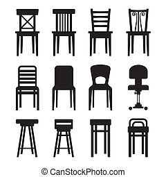 Old, Modern, Office and Bar Chairs Set. Vector