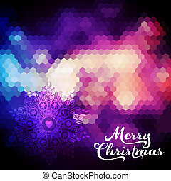 Vector Christmas background. Christmas ball. Retro backdrop. Blur. Bokeh. Christmas decorations. Heart. Festive. Merry Christmas. Defocused abstract red and yellow christmas background