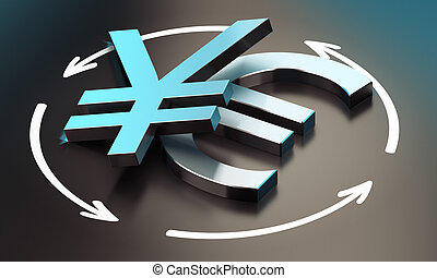 Euro and Yen Symbol. EUR JPY Pair - EUR and JPY pair over...