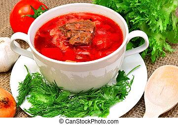 Russian-Ukrainian borscht soup - Traditional...