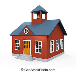 School Building Icon isolated on white background. 3D render