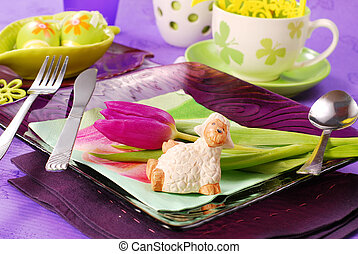 easter table decoration - table decorated for easter time in...