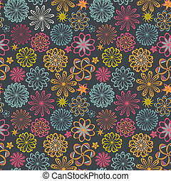 Floral seamless pattern with flowers. Vector blooming doodle floral texture. Decoration with detailed flower.