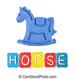 Color children's horse plasticine on a white background
