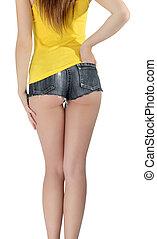 ass woman wearing a short denim shorts - ass woman wearing a...