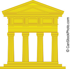 Gold doric temple isolated on white background.