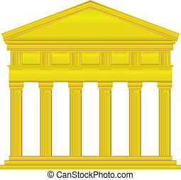 Gold doric temple isolated on white background