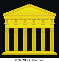 Gold doric temple isolated on black background.
