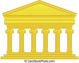 Gold ionic temple isolated on white background