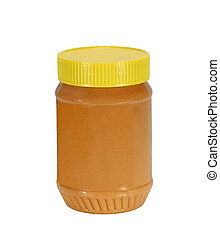 Peanut Butter - Jar of peanut butter isolated on white