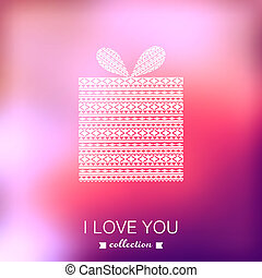 Gift box. Vector Valentine's Day background. Blurred...
