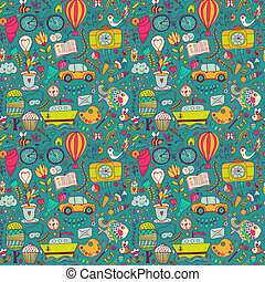 Vector seamless pattern, childish doodles Pattern ,set of...