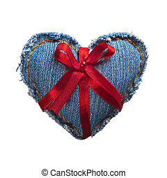 Valentine jeans heart with red holiday ribbon. Isolated on...