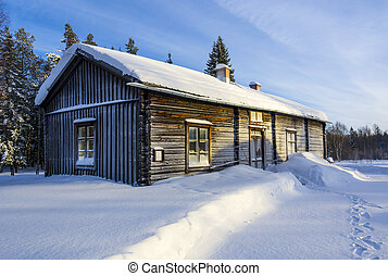 Old swedish farm house in snow - Old wooden farm house in...