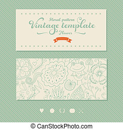 Floral banner for life events, vector Greeting floral card...