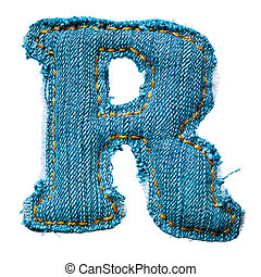 Handmade letter of jeans alphabet on white
