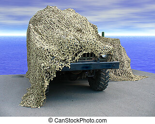 Russian military truck under green camouflage net