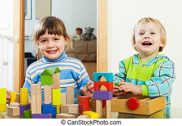 lar, Feliz, blocos, crianças, tocando