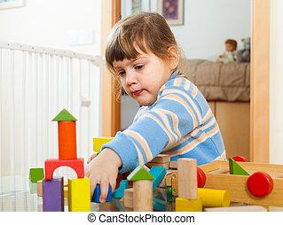 Spielzeuge, Jahre,  3, kind, ernst, spielende