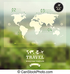 Vector blurred natural landscape. Map on blurry background....
