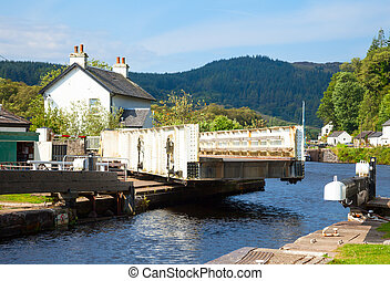 Canal lock with swing bridge - Canal Lock at Cairnbaan...