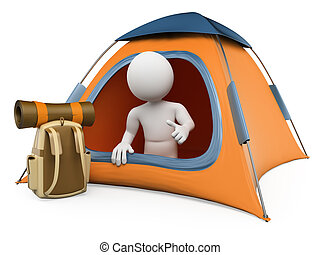 3D white people Camping tent - 3d white people Camping tent...