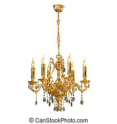 Vintage chandelier isolated on white background with...