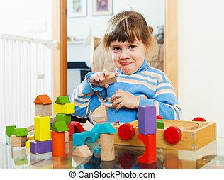 kind, Jahre,  3, Spielzeuge, Daheim, spielende