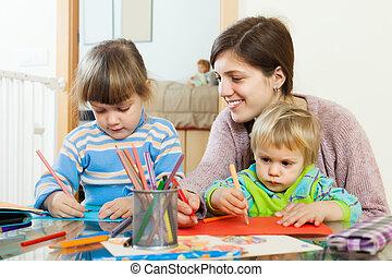 lápis, Feliz, crianças, esboçar, mãe