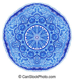 Watercolor gzhel Doily round lace pattern, circle background...