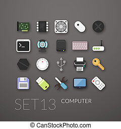 Flat icons set 13 - computer collection