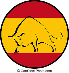 Silhouette of a bull in the national colors of the Spanish...