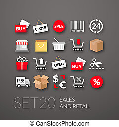 Flat icons set 20 - sales and retail collection