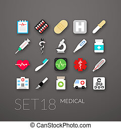 Flat icons set 18 - medical collection