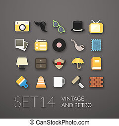 Flat icons set 14 - vintage collection