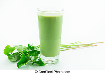 Pennywort or asiatic herbal Smoothie in glass, Helathy drink...